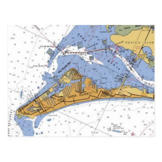 Postal náutica de la carta de la Florida de la isl