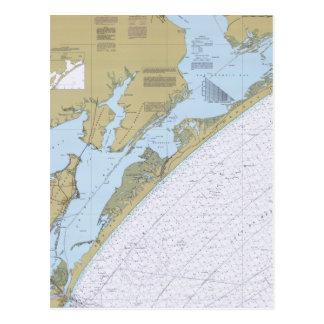 Postal náutica de la carta de Tejas del paso de Ar