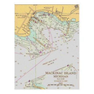 Postal náutica de la carta del puerto de la isla d