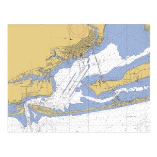 Postal náutica de la carta del puerto de Pensacola