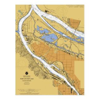 Postal náutica de la carta del puerto de Portland
