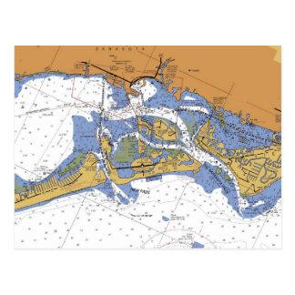 Postal náutica de la carta del puerto de Sarasota