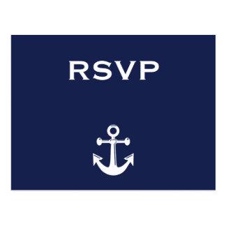 Postal náutica de RSVP de los azules marinos que s