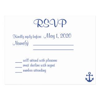 Postal náutica de RSVP que se casa con nombres