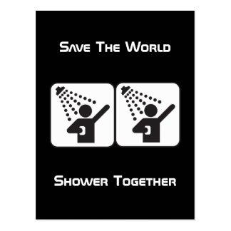 Postal negativa de la ducha junto