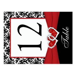 Postal negra blanca roja del número de la tabla
