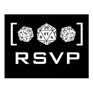 Postal negra de RSVP del videojugador de los dados