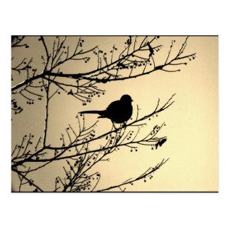 "Postal negra del arte de JTG del ""pájaro"""