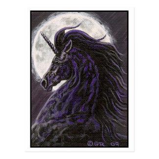 Postal negra del arte del unicornio 2
