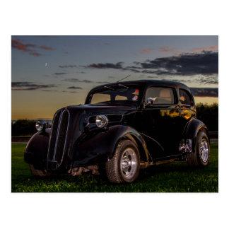Postal negra del coche del vintage
