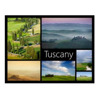 Postal negra del collage del marco de Toscana