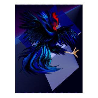 Postal negra del gallo que lucha