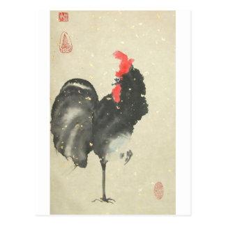 Postal negra del gallo