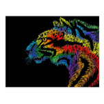 Postal (negra) del leopardo del arco iris (horizon