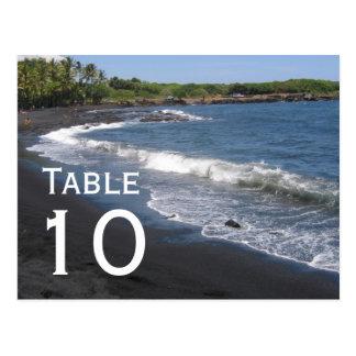 Postal negra del número de la tabla de la playa de