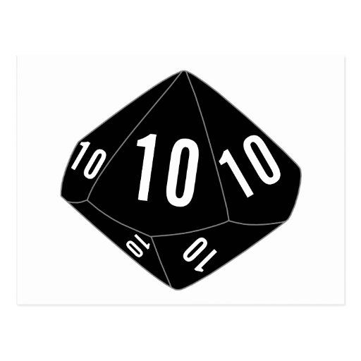 Postal negra del número de la tabla de los dados D