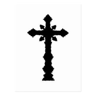 Postal negra gótica de la cruz del cementerio