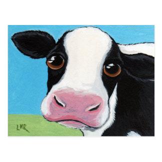 Postal negra y blanca caprichosa linda de la vaca