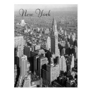 Postal negra y blanca de New York City del vintage