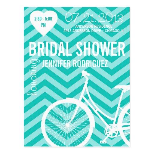 Postal nupcial de la ducha del boda de la biciclet