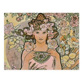 Postal nupcial de Nouveau del arte color de rosa