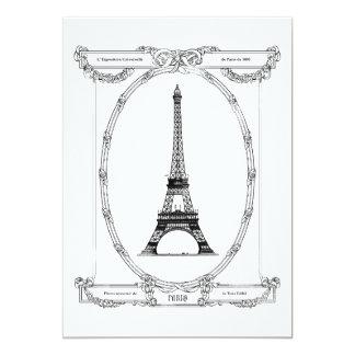 """Postal nupcial elegante de París del vintage de la Invitación 5"""" X 7"""""""