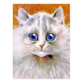 Postal observada azul del gato del vintage