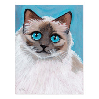 Postal observada azul del retrato del gato de