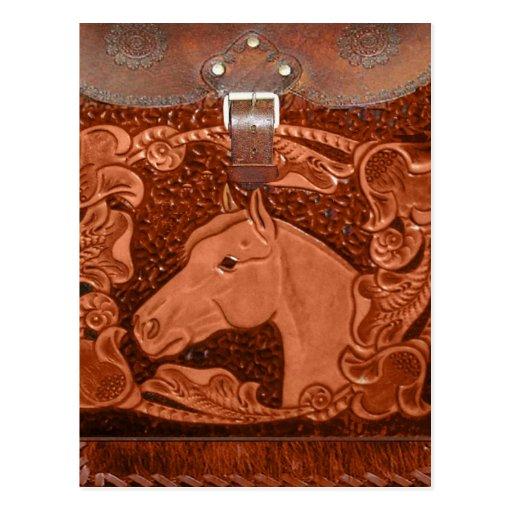 """Postal occidental equipada del """"caballo"""" del cuero"""