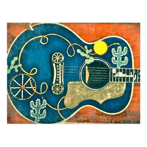 Postal occidental vieja de la guitarra