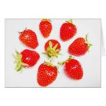 Postal ocho fresas pequeñas, en blanco