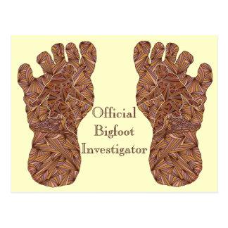 Postal oficial de Sasquatch del investigador de