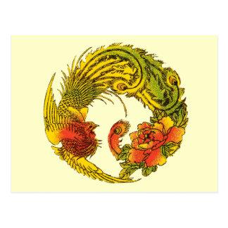 Postal oriental del pavo real