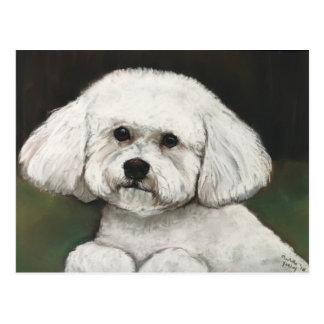 Postal original del arte del perro de Bichon Frise