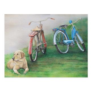 Postal original del arte del perro de las reliquia