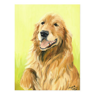 Postal original del arte del perro del golden retr
