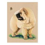 Postal original del arte del perro del perro chino
