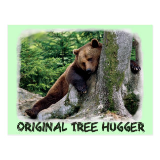 Postal original del oso de Hugger Brown del árbol