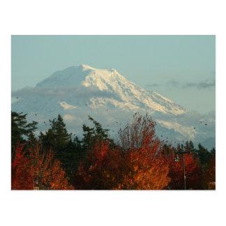 Postal: Otoño el Monte Rainier Tarjeta Postal