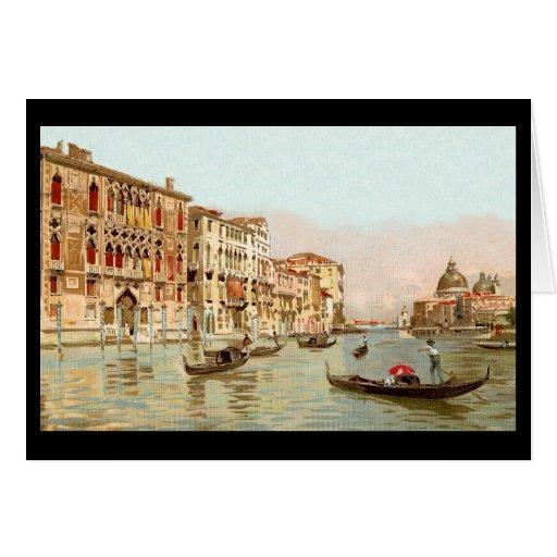 Postal Palazzo Franchetti, Venezia del vintage Felicitación