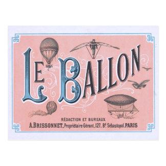 Postal París del globo del aire caliente del vinta