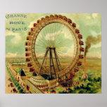 Postal parisiense del vintage póster