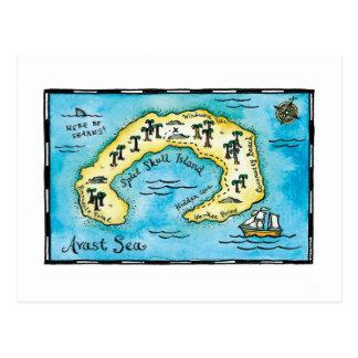 Postal partida del mapa del tesoro de Skull Island