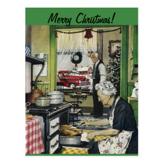 Postal pasada de moda del navidad del hogar del vi
