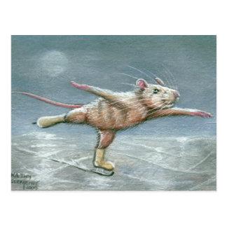Postal patinadora de la rata agraciada
