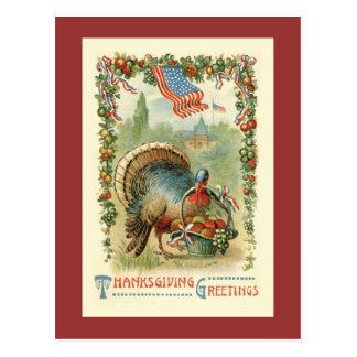 Postal patriótica antigua de la acción de gracias
