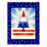 Postal patriótica del árbol de los Felices Navidad