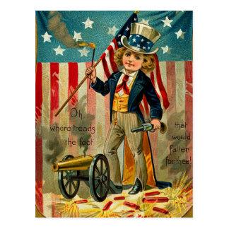 Postal patriótica del muchacho