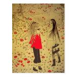 postal perdida del dibujo del chica