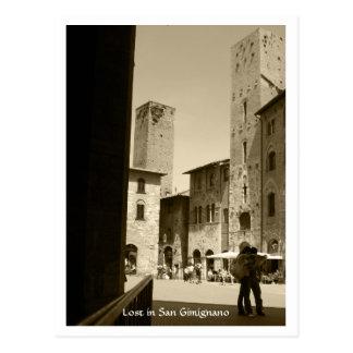Postal - perdida en San Gimignano